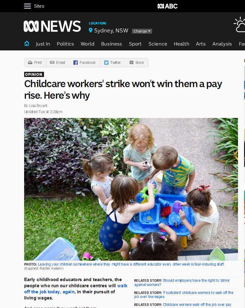 記事紹介:オーストラリアのチャイルドケアの低賃金労働